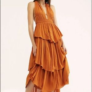 Free People Maxi Dress Rusty Cocoa Halter Tiered